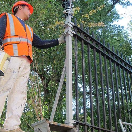 Rust Grip and Enamo Grip Coatings On Iron Fence - Historic Preservation