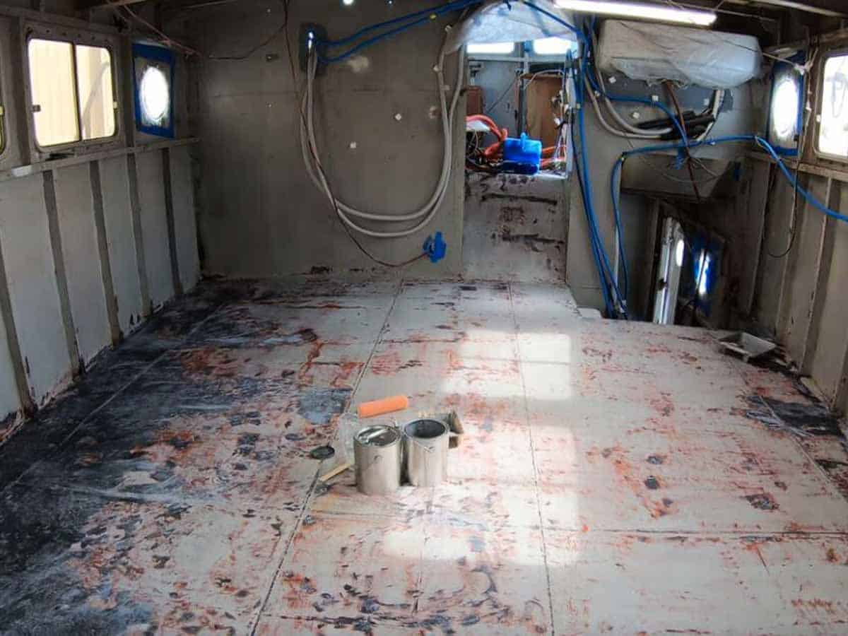 Marine - Metal Boat Floor Application Before Rust Grip