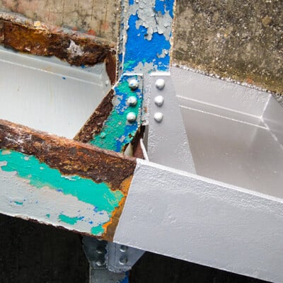 Rust Grip Coating on Parkway Overpass Support Beam